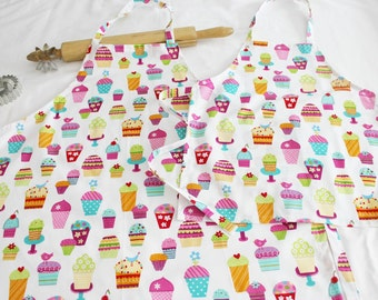 Sprinkles Cupcakes Mother Daughter Aprons - white