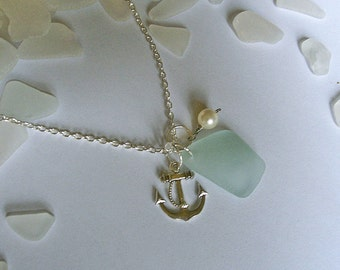 Seafoam sea glass necklace with anchor. Beach glass seaglass jewelry.