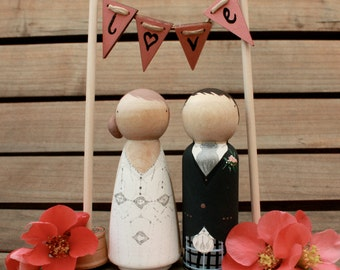 W O O D E N  C A K E  B U N T I N G Hand-painted and Personalised for your Cake Topper