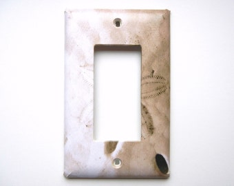 Light Switch Plate, Single Rocker, Sand Dollar, Sepia Toned