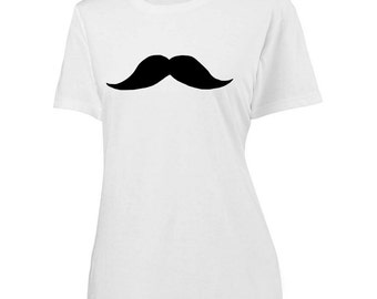 Womens Mustache Shirt - screen printed vintage moustache