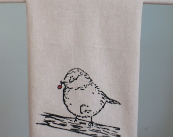 Cute Bird Tea Towel, Hand Printed