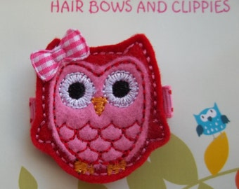 PINK and RED Felt Owl Hair Clip Clippie Baby Toddlers Girls