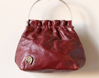 70s Etienne Aigner Purse Small Oxblood Leather Handbag