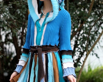 Custom listing .made to order. upcycled recycled sweater dream traveling  patchwork ragamuffin elf pixie rave recycled sweater coat
