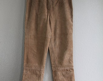 vtg brown suede genuine leather pants