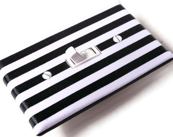 BLACK WHITE STRIPES Light Switch Cover Plate Switchplate - Ready To Ship