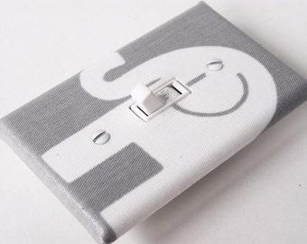 GRAY ELEPHANT LEFT Light Switch Plate Cover Switchplate Nursery Decor Grey