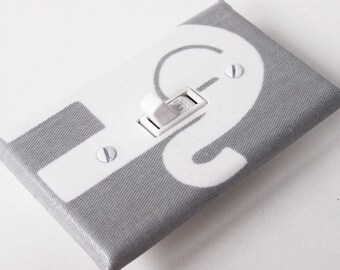GRAY ELEPHANT RIGHT Light Switch Plate Cover Switchplate Nursery Decor Grey