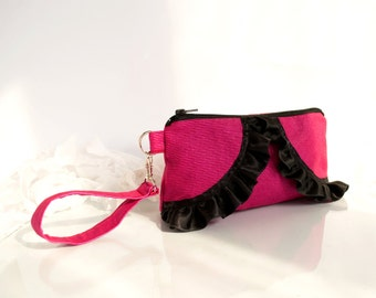 Fuchsia Zipper Pouch with Black Satin Ruffles, Pink Cosmetic Bag, Romantic Clutch, Bohemian Accessories