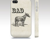 Iphone 5 case, iphone 4s case, vintage, humorous, hipster, badass, Bad Ass illustration donkey, typography art for your phone