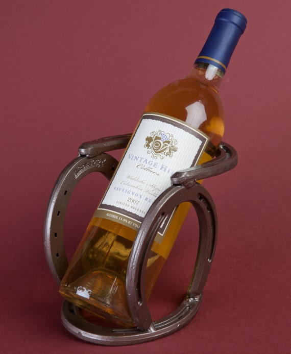 Horseshoe Cowboy Hat Rack Western horseshoe wine bottle holder southwestern by ...