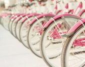 Bicycle Photography, Pink Wall Art, Girl's Room Decor, Retro Pink Bicycles, Bubblegum Pink Bikes, Baby Girl Nursery, Pink & Grey Decor
