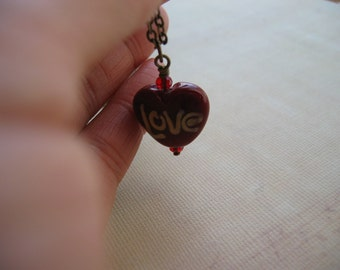 NEW YEAR Love Heart Lampwork Pendant Necklace - Vintage Red Heart Necklace - You Pick the Length