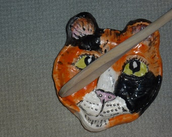 Calico Cat Spoon Rest handmade in US from a lump of clay Custom Kitties welcome