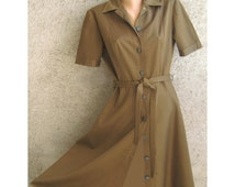 Vintage Dress Trenchcoat Women Army green Midi Retro Short sleeve Skirt  A-silhouette Cotton / Polyester Size L 14US 16UK