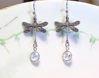 Dragonfly Pendant Earrings Dangle Earrings April Birthstone Gift Idea  Wedding Anniversary Bridal Gift Mother Gift Pretty