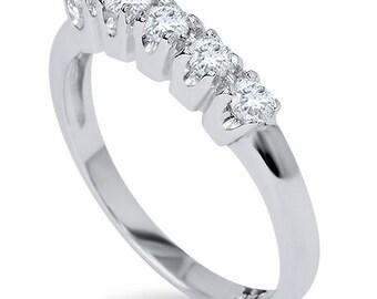 Diamond Wedding Ring 1/4CT 5-Stone Diamond Wedding Ring 14K White Gold Womens Anniversary Guard Band Size (4-9)