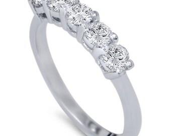 Diamond Wedding Ring 1/2CT 5-Stone Diamond Wedding Ring 14K White Gold Womens Anniversary Guard Band Size (4-9)