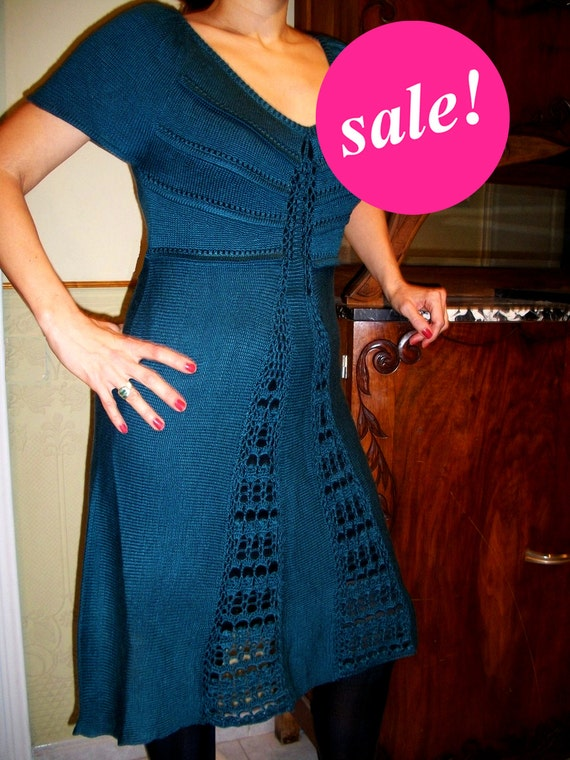 BLUE crochet dress, elegant dress, party dress, v-neck, knee length, retro 40s dress, flattering dress, ON SALE, S only