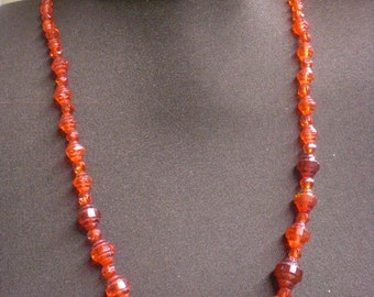 Red Glass Necklace With Vintage Beads