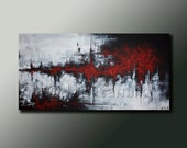 Modern Abstract Original PAINTING Contemporary Fine Art Wall Decor RED Black and White by Idil Kamlik