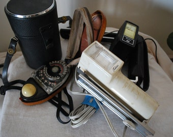 Vintage Norwood Director Camera Light Meter, Toshiba Flash, Vivtar Flash and more