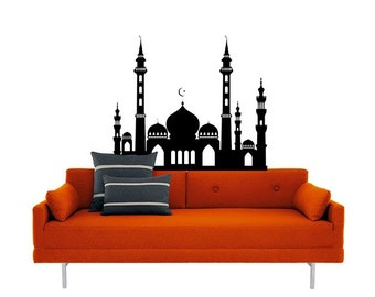 Middle Eastern Mosque vinyl Wall DECAL-Persian Morrocan Arabian Palace, sticker art, room, home and business decor