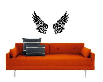 Angel WIngs vinyl Wall DECAL Art, sticker art, room, home and business decor- 6 feet tall