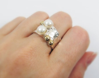 Pearl ring, sterling silver ring. pearl and 9k gold ring, gold pearl ring (52886).  anniversary gift, silver gold ring, pearl jewelry