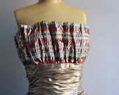 Metallic Victor Costa 80s Strapless Prom Dress