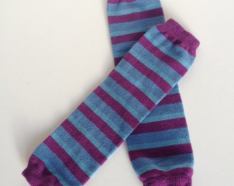 Purple, Fuchsia and Blue Striped Baby Leg Warmers, Hand Dyed for babies and kids