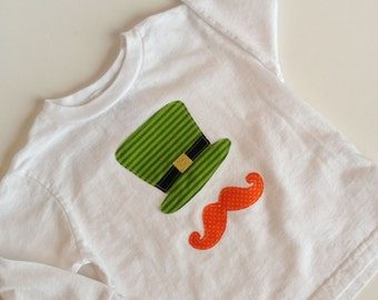 St. Patrick's Day Long Sleeve Shirt Leprechaun Hat and Mustache