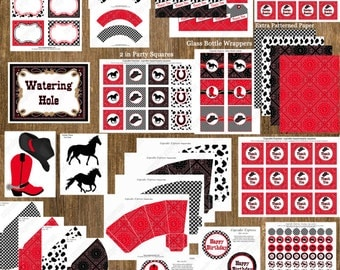 diy  Cowboy  Birthday Party  PRINTABLE Huge Deluxe Package black red horse boots Western by Cupcake Express