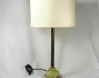 Table Lamp Vintage Solid Brass Green Onyx Base Tall