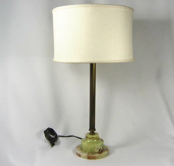 table lamp vintage solid brass green onyx base tall. Black Bedroom Furniture Sets. Home Design Ideas