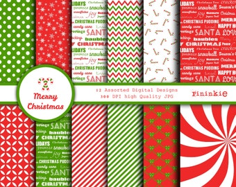 Christmas Digital Paper - Christmas Scrapbooking Paper - candy canes chevron - Instant Download - Scrapbook Paper - Xmas Digital Paper