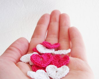 Crochet Heart Appliques, Pinky Pink & Snow White , Set of 10, Valentines Day Heart Love Motif, Party Decorations