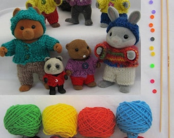 KIT and Knitting pattern 'Playing in the Woods' collection for Sylvanian Families & Calico Critters, for dolls in PDF format