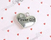 1 - Tibetan Silver Rhinestone Bridal Party Heart Tag Charms, Flower Girl Charm, 16mm x 14mm (1-1J)