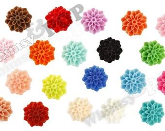 15mm - 100 - MIXED COLORS, Chrysanthemum Flower Cabochons, Flower Cabs, Dahlia Flatbacks, Mum Shaped, (R3-107)