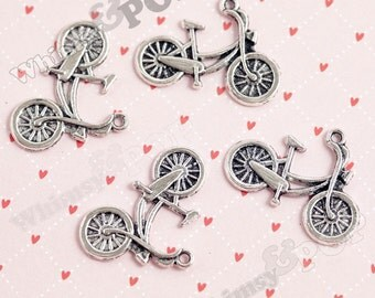 Biker Bicyclist Bicycle Tibetan Silver Charms, 26mm x 18mm  (3-2H)