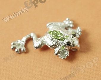 1 - Green Crystal Rhinestone Frog Pendant Charm, Frog Charm, 35mm x 30mm (4-1B)