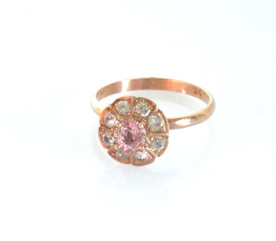rose gold ring,natural peach Sapphire ring Handmade with white sapphires  P-048