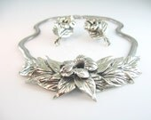 Vintage Danecraft Sterling Necklace Earrings Hibiscus Flower Silver Set Early Felch Co. 1940s Jewelry