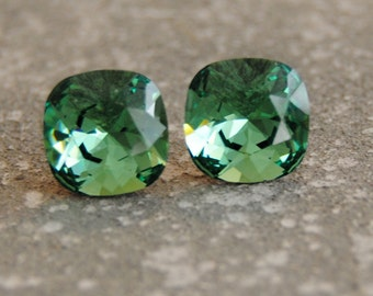 Forest Green Swarovski Crystal Cushion Cut Rounded Square Stud Earrings Leverback Dangles Clip on Bridesmaid Bridal Earthy Natural Mashugana