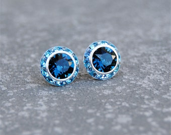 Navy Blue Aqua Earrings Sugar Sparklers Small Swarovski Crystal Navy Blue Aqua Rhinestone Stud Earrings Mashugana
