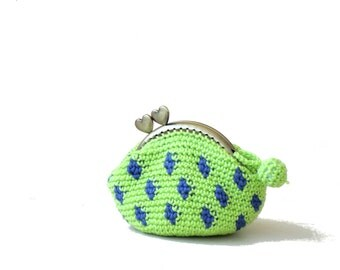 Neon green coin purse kiss lock crochet polka dots Monaco blue, crochet wallet, frame coin purse