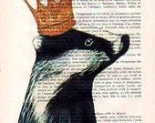 Acrylic Art Original Painting Print Mixed Media Badger Illustration Crown King Queen Royal wall art wall decor Wall Hanging: Royal Badger