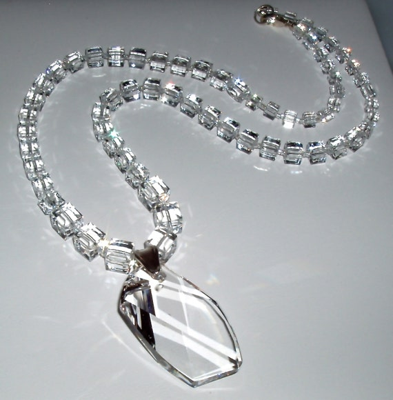SALE - Swarovski Crystal Cube Necklace and Pendant
